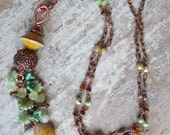 Long Artisan Lampwork Beaded Necklace~ OOAK Boho Necklace, Flower Necklace, Leaf Necklace, Green Necklace, Tassel Necklace Czech Glass Beads