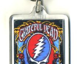 Grateful Dead Keychain - Steal Your Face design Key Chain - Jerry Garcia