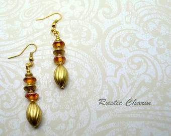 Orange Glass and Gold Acylic Dangle Earrings.