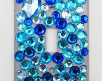 DENIM Blue Bling Rhinestone Standard Size Light Switch Plate Cover