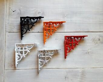 Shelf Brackets set of 2, Metal Shelf Bracket, Iron Shelf Brackets, Wood Shelf Brackets, Silver, Red, Black, White, Coral, Gold - Shabby Chic