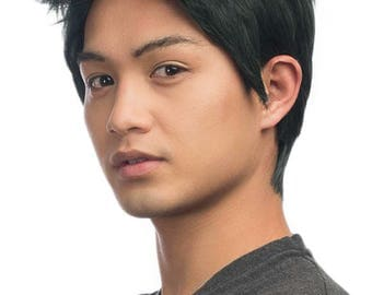 Ryu -  3'' Short Spiky Combed Back Wig with no Part.