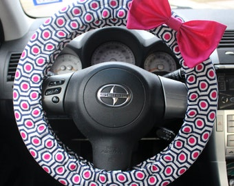 Navy and Pink geometric Steering Wheel cover with bow pin -cute car decor, affordable, accessories, comfortable, girl gift, gift for her