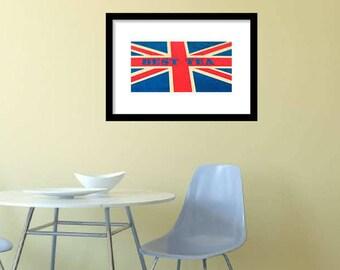 Large British Flag Printable Art, Vintage Union Jack Flag Wall Art, Vintage British Flag England Flag Printable Best Tea Time Download