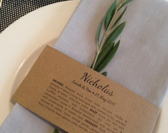 Printable menu napkin wraps with optional guest names/place card