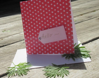 Small Handmade Red-and-White Dotty Hello Greeting Card