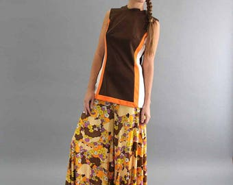 mod go-go vintage 60s 1970s color block tunic top in brown orange and white . womens medium large