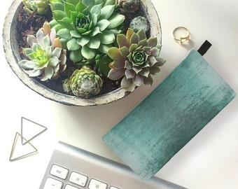 Boho Worn Teal Velvet Makeup Cosmetic Bag Velvet Printed Pencil Case Turquoise Velvet