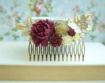 Burgundy Red Flower Large Gold Comb, Marsala Red Large Hair Comb, Maroon Wedding Comb, Maroon Red Gold Cream Leaf Butterfly Bridal Hair Comb