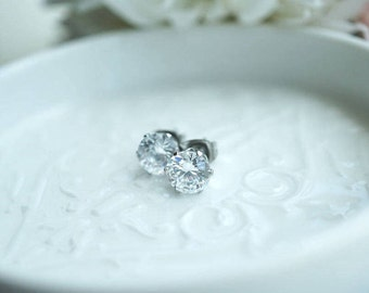 Proceeds to Charity -  Clear Cubic Zirconia Glass Stones Studs - Wedding Gift - Bridesmaids Gift - Donation to Animal Shelters
