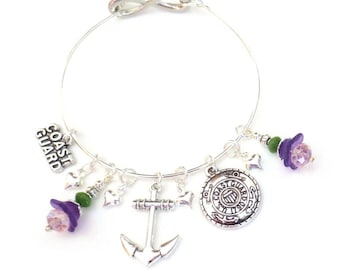 Coast Guard Charm Bracelet - Coast Guard Moms - Military Wives - Silver Anchor & Hearts - Purple Lucite Flower Charms - Infinity Loop Bangle