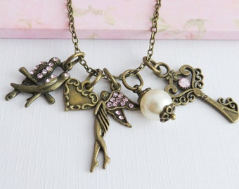 Pink fairy necklace, charm necklaces, bird jewelry, fairies, whimsical jewelry, romantic jewelry, gift for her