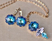 NEW Swarovski Bermuda Blue Rainbow Jelly Fish Jeweled Set,Rhinestone Earring & Cluster Pendant Necklace,Gold Lever Back,Crystal Earring,Gift