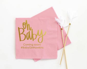 Girl Baby Shower Napkins Oh Baby Pink Personalized Napkins Baby Shower Decorations for Girls Baby Girl Shower Ideas Custom Beverage Napkins