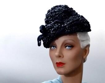 Vintage Tilt Hat Navy Blue Straw - Tall Crown and Silk Ribbon Trim - 1940's Hugh Beresford