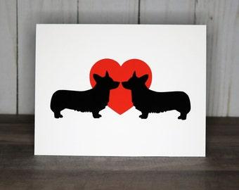 Corgi Valentine Cards, Corgi Love Cards, Pack of Valentine's Day Note Cards