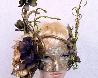 Woodland mask, Poison ivy mask, Couture masquerade mask, Mardi Gras Mask, Snake mask, Masquerade ball, Costume party, Gold mask