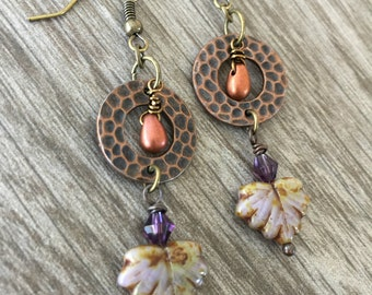 Plumberry Leaf and Circle Earrings