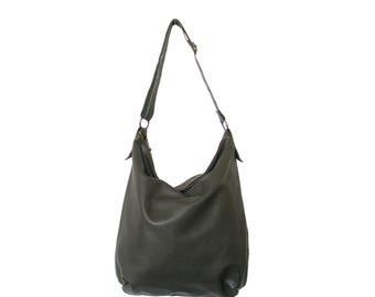 Handmade dark grey leather hobo bag