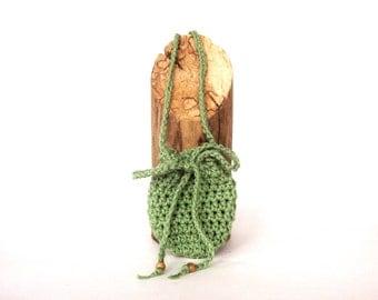 Green Necklace Pouch Neck Pouch Crochet Drawstring Bag Hippie Stash Bag  Rune Bag Gem Pouch