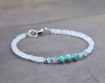 Turquoise, Moonstone & Aquamarine Bracelet, Delicate Ombre Multi Gemstone Bracelet in Silver or Gold, Shaded White Aqua Blue Beaded Bracelet