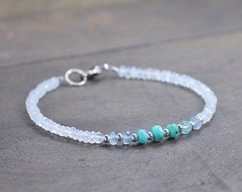 Turquoise, Moonstone & Aquamarine Bracelet, Delicate Ombre Multi Gemstone Bracelet in Silver or Gold, Shaded White Aqua Blue Beaded Bracelet
