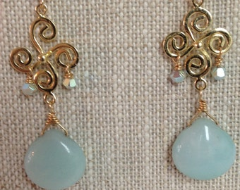 Chalcedony Briolettes  Post Earrings with Swarovski Crystal Bicones