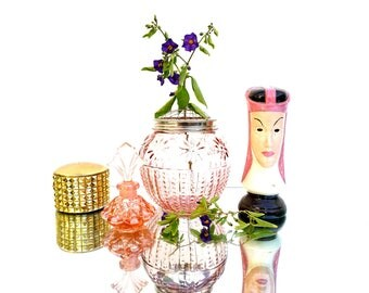 Pink Glass Vase with Metal Flower Frog Lid || Window Sill Bud Vase || Hobnail & Daisy Patterns