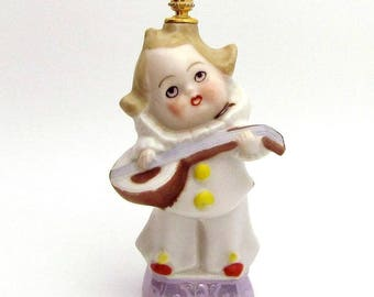 Art Deco Clown With Mandolin German Figural Crown Top Perfume Bottle