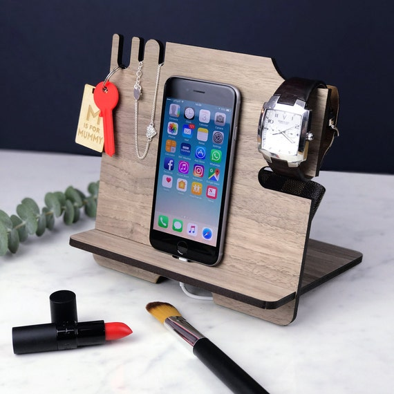 iPhone Stand - Mobile phone & tablet Docking Station - Charging Station - Bedside or Desk Tidy -  Smart Phone Samsung - Mothers Day Gift