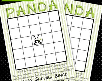 Panda Baby Shower Bingo Game - DIY Printable - Instant Download - Digital File