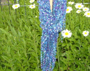 CROCHET triangle Scarf FRINGE/ sparkle ladder ribbon scarf/engagement gift/lover's knot stitch/blue teal aqua purple