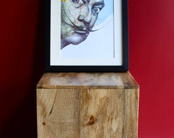 Salvador Dali portrait in pen of the surrealist artist over map of Spain. A4 signed print. Unframed