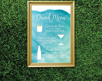 The CHRISTY . Drink Menu Large Printed Sign Martini & Craft Beers . White Calligraphy Watercolor Beach Island Blue Teal Mint Destination