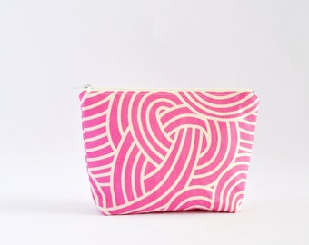 Geometric Cosmetic Bag, Zipper Pouch, Makeup Bag, Makeup Pouch, Cosmetic Pouch, Toiletry Bag - Pink Swirls