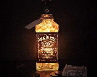 Jack Daniels Light Whiskey Bottle Lamp Bar Decorations - Home Bar Decor Whiskey Light - Whiskey Bottle Bar Decorations - Amber Lighting