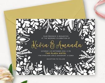 Rustic Wedding Invitation Printable / Floral Printable Wedding Invitation Set / Modern Wedding Invitation Template