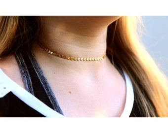 GOLD CHOKER NECKLACE: Gold Disc Necklace, Gold Coin Necklace, Simple Gold Necklace, Gold Chain Necklace, Dainty Gold Necklace, Gold Jewelry
