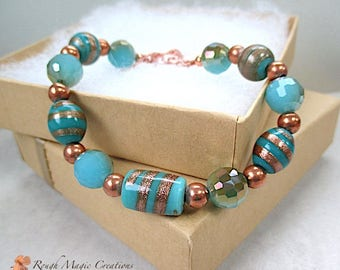 Blue & Copper Bracelet, Aqua Teal Turquoise, Chunky Lampwork Glitter Swirls, Fire Polished Glass Beads, Hand Forged Copper Toggle Clasp B262