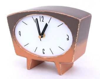 Table Clock, Wood Desk clock, Vintage 60s style ,Handmade Brown clock, Wooden Shaded Tan and Brown, Unique Home Decor , Spring decor
