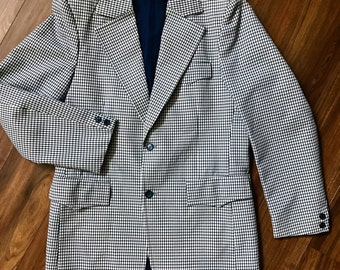 """1970's Sport Coat Jacket Blazer Checked Pattern Navy Blue White Western Style Pockets Men's 41"""" Chest Excellent Condition Size Medium/Large"""