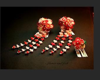 Kimono hair pin kanzashi red-geisha kanzashi flower fork- janpanese hair flower, geisha hair flower, set of 3-Z82