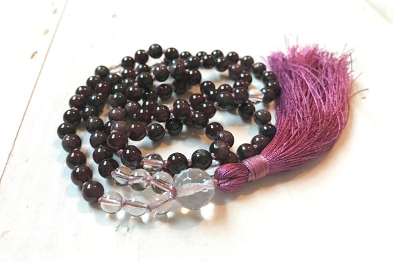 Courage Mala, Root Chakra Mala Beads, Mala For Chakra Cleansing, Red Garnet And Clear Quartz Mala, Yoga Meditation Beads, Spiritual Jewelry
