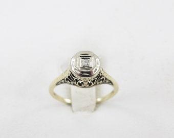 Vintage 18 k Yellow Gold Art Deco Estate Diamond Engagement Ring Size 4 3/4