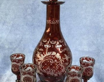 Bohemian Royal Ruby Decanter with Stopper & Glasses - Vintage/Antique - Egermann - Cut to Clear Crystal