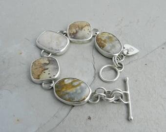 Handmade Ocean Jasper Fossil Coral and Sterling Link Bracelet--Silversmith--Metalwork