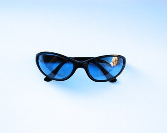 90s/2000s Vintage Oval Sunglasses - Blue lens sunglasses w  Black Frames - Cyber/Clobkid/Acid House/Rave