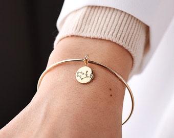 Zodiac Bangle, horoscope Constellation bangle, Wire Bangles, Zodiac Jewelry ,Zodiac bracelet, Zodiac coin bracelet