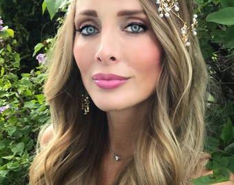 Wedding Hair Crown, Gold Leaf Hair Vine, White Pearl Hair Crown,  Flower Rhinestone Hair Vine , Wedding Hair Accessory, Bridal hair crown
