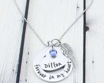 Hand Stamped Memorial Jewelry - Custom Memorial Necklace - Sympathy Gift - Personalized Miscarriage Necklace - Infant Loss Jewelry